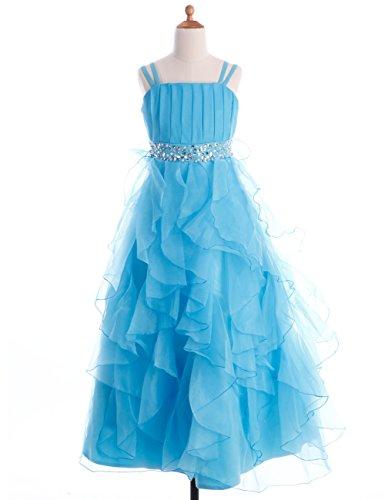 Fashion Plaza Girl's Organza Ruffle Flower Girl Pageant Ball Gown Dress K0044 (10, Light Sky Blue) ()