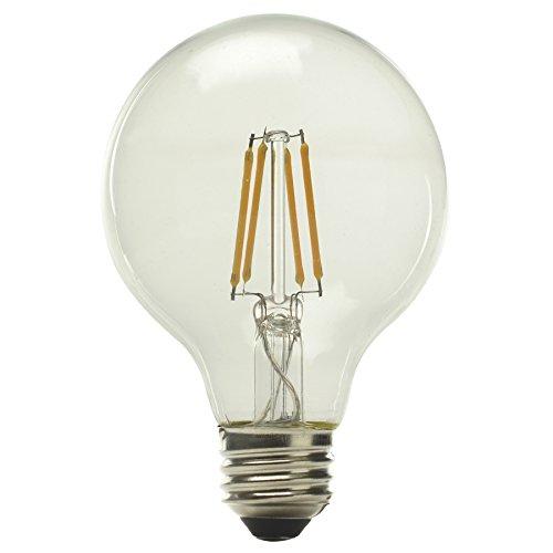 Kichler Globe 60W Medium base Equivalent 5w Dimmable Filament G25 Globe Vintage LED Decorative Light Bulb Vintage Antique Style Light (Kichler Incandescent Candle)