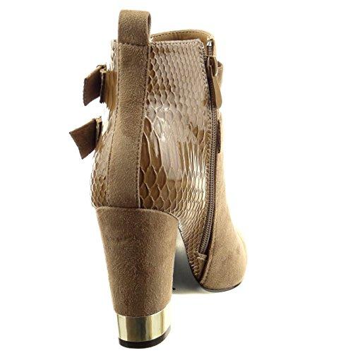 Sopily - Scarpe da Moda Stivaletti - Scarponcini low boots donna pelle di serpente multi-briglia metallico Tacco a blocco tacco alto 9.5 CM - Khaki