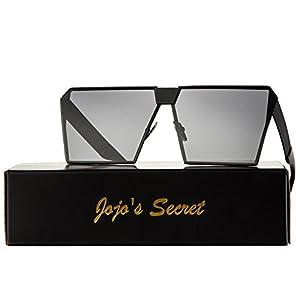 JOJO'S SECRET Oversized Square Sunglasses Metal Frame Flat Top Sunglasses JS009 (Black/Black, 2.48)