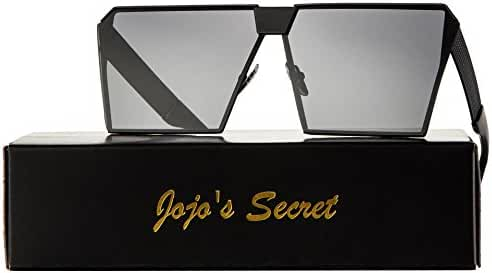 JOJO'S SECRET Oversized Square Sunglasses Metal Frame Flat Top Sunglasses JS009