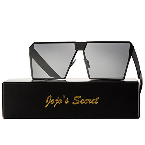 JOJO'S SECRET Oversized Square Sunglasses Metal Frame Flat Top Sunglasses JS009 (Black/Black, (Fashion Sunglasses)