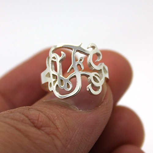 Sterling Silver Monogram Ring,Sterling Silver Personalized Three Initial Monogram Ring,Best gift for ()
