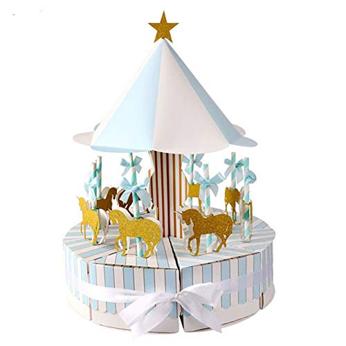 prettDliJUN Ribbon Carousel Candy Box Sweets Gift Wedding Party Baby Shower Paper Container Gift Blue