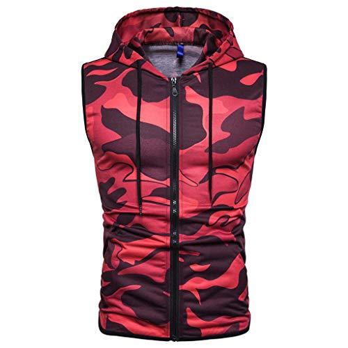 RAINED-Mens Casual Lightweight Sleeveless Zip-up Tank Hoodies Gym Bodybuilding Camo Tank Tops Cotton Zip up Hoodie ()