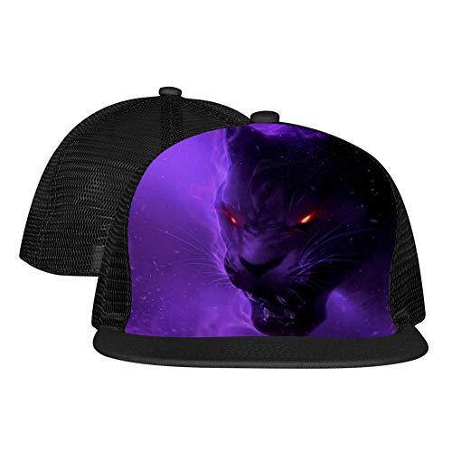 Gujigur Adult Unisex Flat Hat Angry Purple Cheetah Novelty Hip Hop Printed Basketball Mesh -