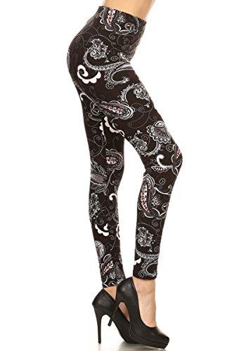 R776-OS Paisley Nature Print Fashion Leggings