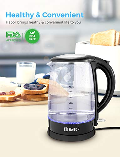 Habor Electric kettle, Water Boiler 1500W Fast Heating Tea Pot, 1.8 Quart (1.7 L) Blue LED Lights Bright Glass Body, Auto Shut-Off Boil-Dry Protection Stainless Steel Inner Lip by Habor (Image #4)