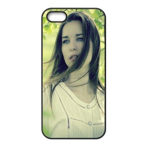Girl Look Nature Blurring 85308 coque iPhone 5 5S cellulaire cas coque de téléphone cas téléphone cellulaire noir couvercle EOKXLLNCD23996