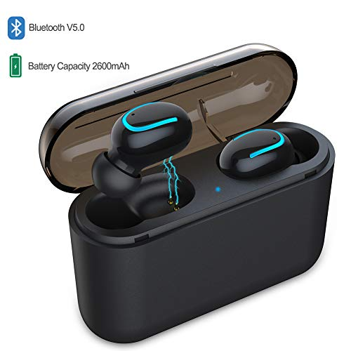 Wireless Earbuds, Bluetooth 5.0 Earphones True Wireless in-Ear Headphones TWS Noise-Canceling Bluetooth Headset 60H Playtime HD Hi-Fi Stereo Sound, Build-in Mic with 2600mAH Charging Case ()