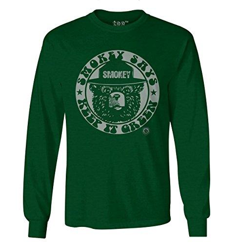 Tee Luv Smokey Bear Long Sleeve Shirt - Keep It Green Smokey Bear T-Shirt (X-Large)