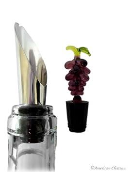 Set 4 Art Glass Grape Bunch Wine Bottle Cork Stopper w// Stainless Steel Pourer