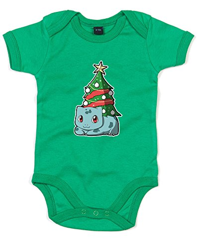 Christmas Bulbasaur, Printed Baby Grow - Kelly Green/Transfer 12-18 Months