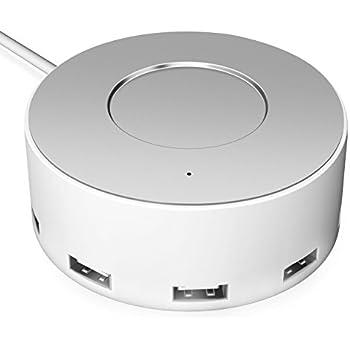 Vogek 6-Port USB Charger Desktop Charging Station with Smart Identification (White-Silver)