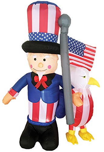 (Inflatable Uncle Sam w/Eagle Holiday Theme Party Patriotic Yard)