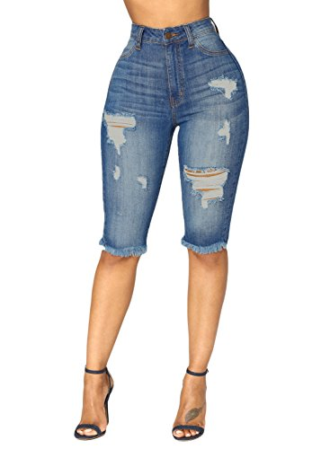 Dokotoo Womens Ladies Fashion Summer Classic Casual Mid Rise Denim Ripped Destroyed Hole Bermuda Shorts Skinny Jeans ()