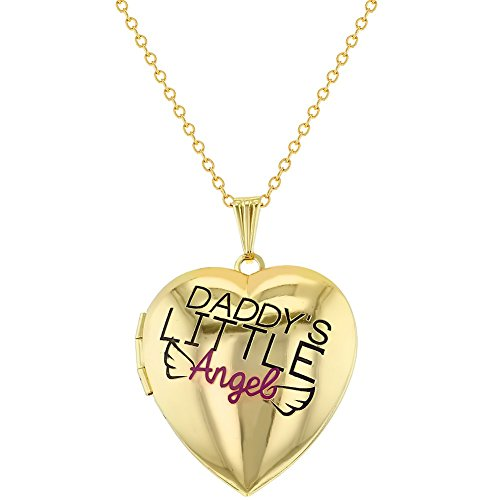 Price comparison product image In Season Jewelry Daddy's Little Angel Heart Locket Necklace Photo Girls Pendant 19""