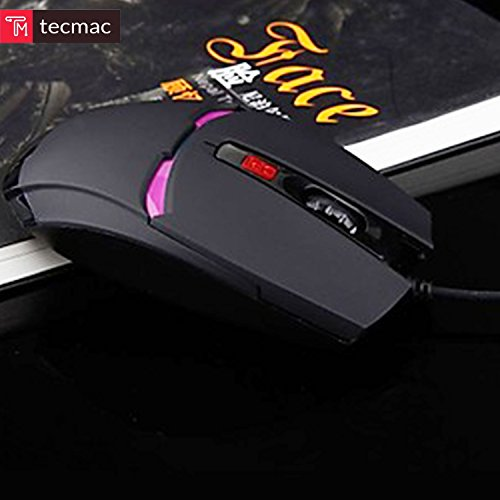 TecMac Iron Man Design USB Wired 2400 DPI 6D Gaming Automatic Change Color Mouse for PC/Laptop, 4 Adjustable DPI Levels with 6 Buttons (Black) by tecmac (Image #1)