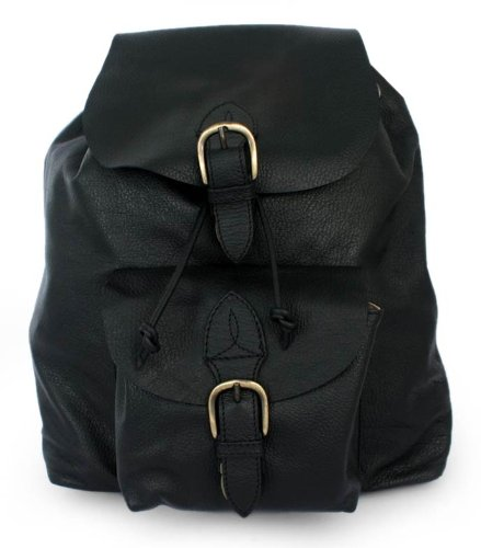 NOVICA Black Leather Backpack,