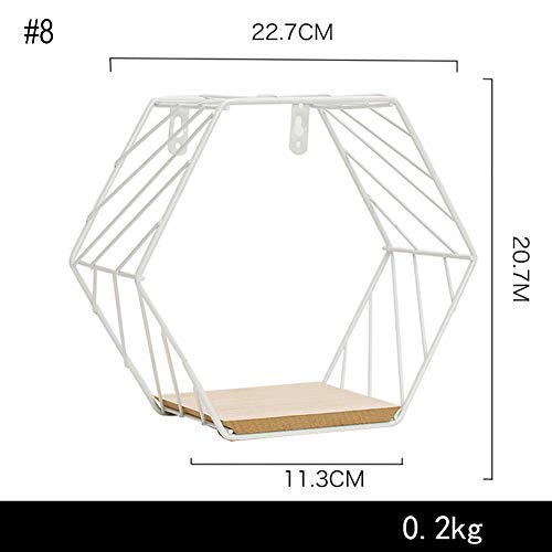(JUST N1 Hexagon Wall Rack Ins Wrought Iron Modern Grid Shelf Mesh Twill Hanging Home Office Simple Decoration)