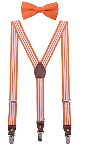 ORSKY Little Boys' Bow Tie and Suspenders Adjustable Elastic 30 Inches Orange White Stripe