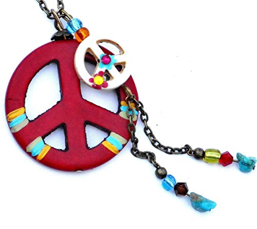 Hand Painted Hippie Boho Peace Sign Necklace with Dangling Turquoise Nuggets and Colorful Glass Beads ()