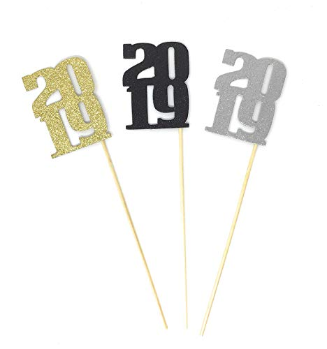 PaperGala 3 Pack of 2019 Centerpiece Party Picks for New Years and NYE Gold, Silver, Black Centerpieces Multi-Color Pack