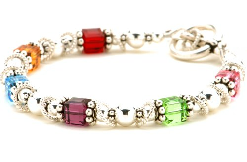 Sterling Silver & Birth Month Crystal Mother Grandmother Family Bracelet ()