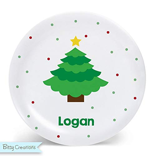 Personalized Christmas Plate for Kids - Christmas Tree ()