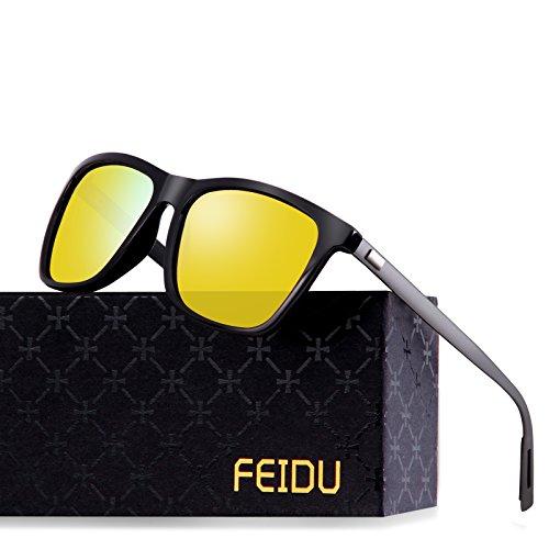 FEIDU Classic Polarized Wayfarer Sunglasses for Men Mirror Eyewear Unisex FD9003 (Yellow, - Yellow Wayfarer