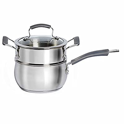 Epicurious Stainless Steel 2.5 qt. 3-Piece Covered Double Boiler Set