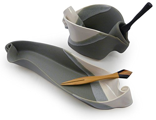 Contemporary Twist 2-Piece Handmade Pottery Hors d'oeuvre Appetizer Serving Dish Set in Grey White by Hilborn Pottery (Image #4)