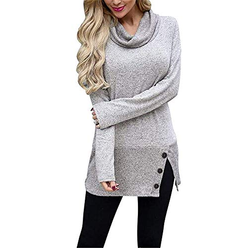 Londony ♥‿♥ Clearance Button Sweatshirt Dresses for Women Cowl Neck Long Sleeve Tunic Sweatshirts Tops
