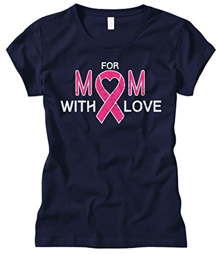 Cybertela Women's For Mom With Love Breast Cancer Awareness Fitted T-Shirt (Navy Blue, Medium)