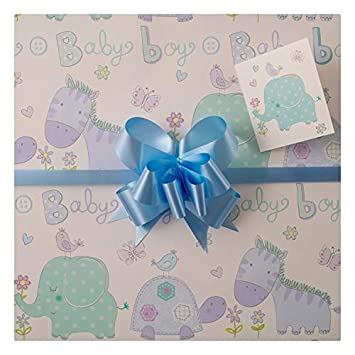 Baby Boy Gift Wrap Pack High Quality Two Sheets Matching Tags And