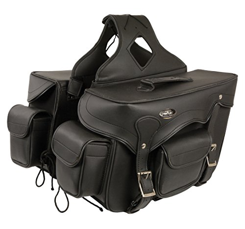 Milwaukee Leather SH66602-BLK-PCS Black Plain Saddle Bag (12X9X6X17)