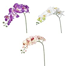 Tinksky 3pcs Artificial Butterfly Orchid Flower Plant Home Decoration (Pink+White+Purple)