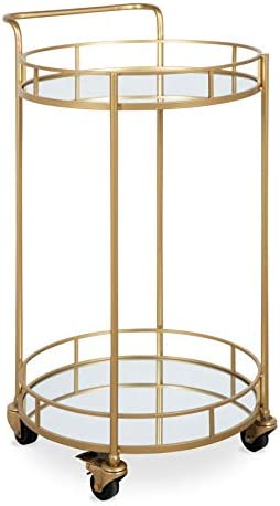 Kate and Laurel Deveaux Modern Metal and Glass Bar Cart, 17.75 x 17 x 30 , Glam Gold Finish and Rolling Wheeled Design