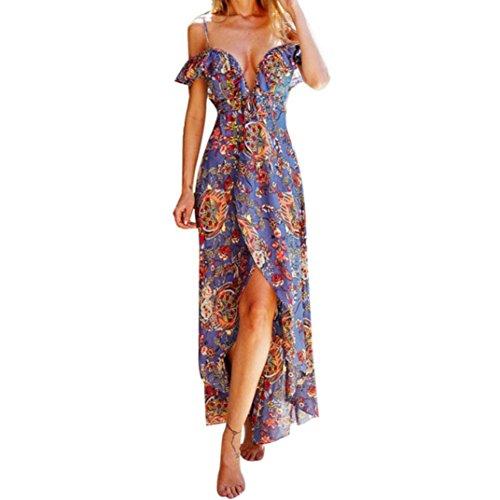 Style Violet Droite Tropical Boho Robe OverDose Beach Maxi Bardot Imprim Sundress Robe Longue RU15q7w