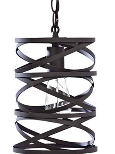 - allen + roth 7-in Bronze Art Deco Hardwired Mini Cylinder Pendant