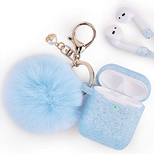 Airpods Case - Filoto Airpods Silicone Glitter Cute Case Cover with Pompom/Keychain/Strap for Apple Airpods 2&1, 2019 Newest 360