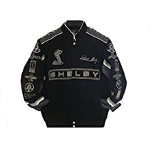 2017 Carroll Shelby Cobra Collage Mens Black Twill Jacket by JH Design