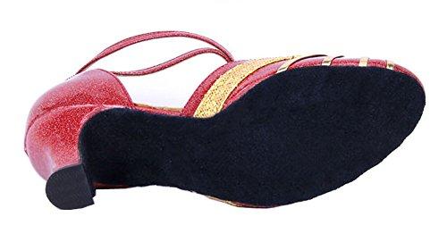 Honeystore Mujeres Ribbon Knot Correa De Tobillo Latin Dance Zapatos Gold