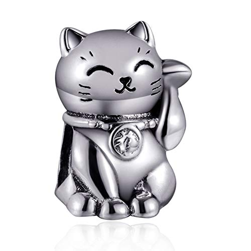 Eternalll Jewellery Original 100% 925 Sterling Silver Charm Bead Love Animal Charm Family Birthday fit Pandoras Bracelets DIY Charms (Fortune Cat Charms)