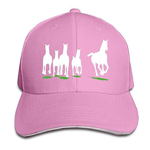 GJdd_diy Unisex Run of Herd of Horses Adult Adjustable Snapback Hats Trucker Cap Pink (Diy-herd)