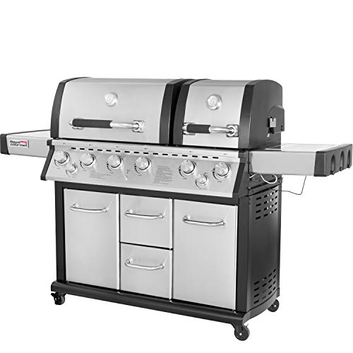 Royal Gourmet Mirage MG6001-R Two Split Lid 6-Burner Cabinet Propane Infrared Burner Gas Grill, Side Burner, 96,000 BTU,Stainless Steel -
