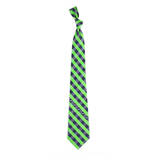 Eagles Wings NFL Seattle Seahawks Men's Woven Polyester Check Necktie, One Size, Multicolor