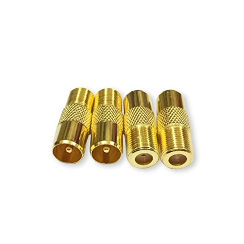 Besmelody F Female to TV PAL Male Plug Coaxial Connector adapter Coax TV Adapter Connector 10pcs (European Tv)