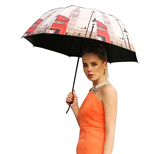 VILLASON London Series UPF 50+Anti UV Windproof & Waterproof Compact Travel Umbrella✪Sturdy Canopy Construction 5 Layers Nano coating for UV Protection✪Special Arched Curve Design (Champagne Gold) (Umbrella Sun Protection Kid compare prices)