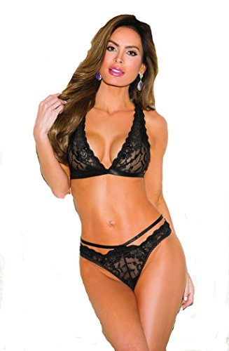 a6b090ad4a188 Sexy Ladies Soft Stretch Lace Bra Bralette Thong Underwear Set Black Purple  8 10 (Black